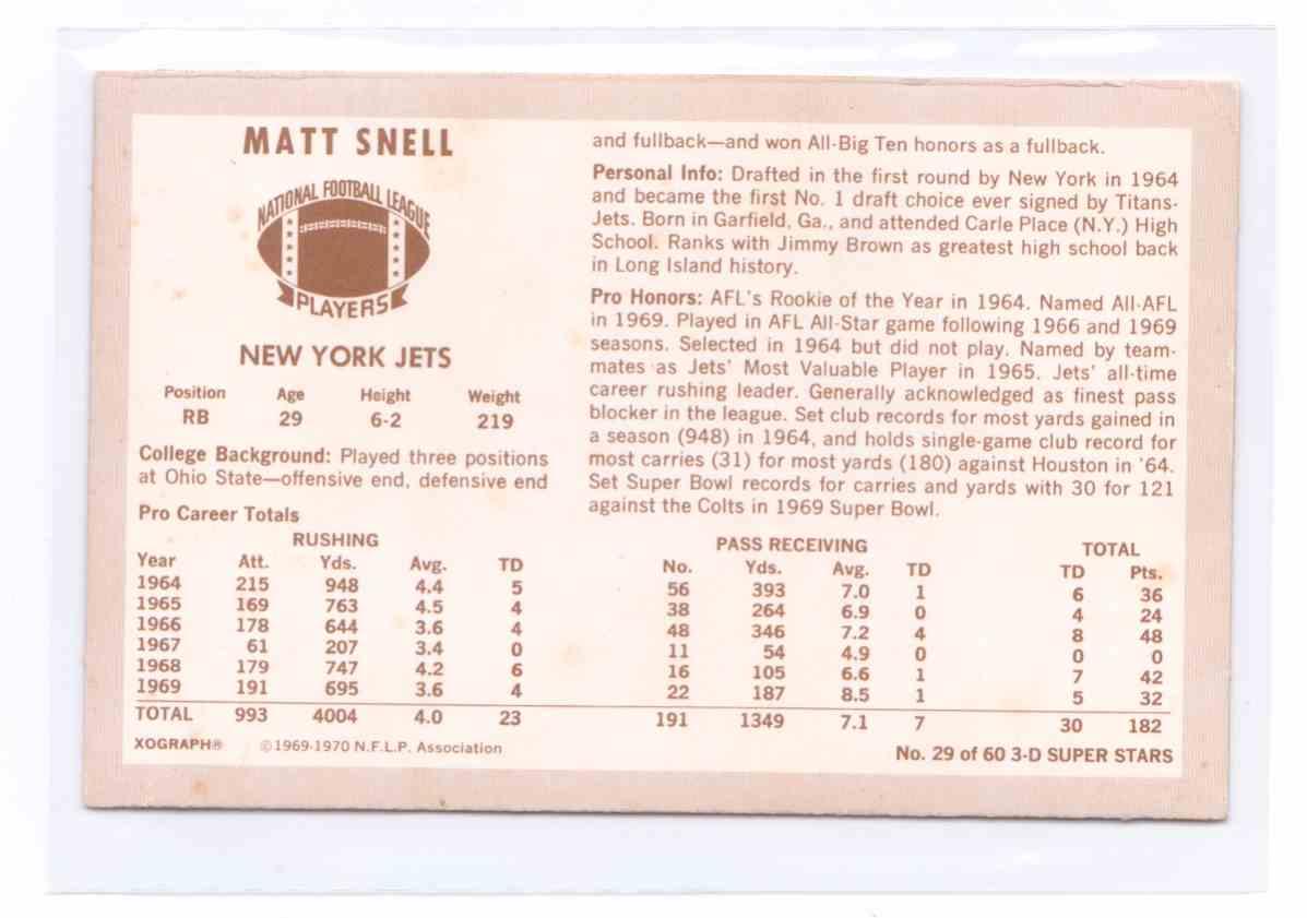 1970 N.F.L.P Association 3D Super Stars Matt Snell #29 card back image