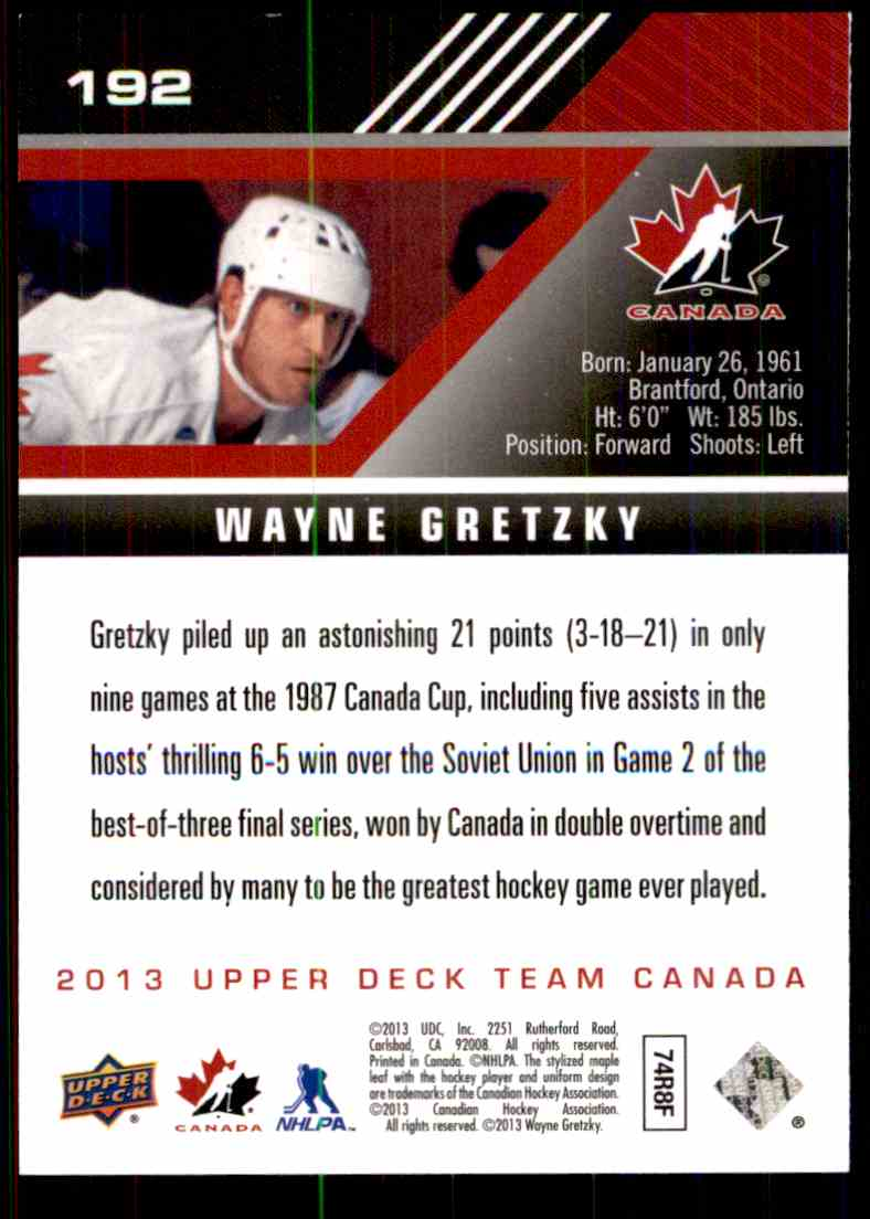 2013-14 Upper Deck Team Canada Wayne Gretzky #192 card back image
