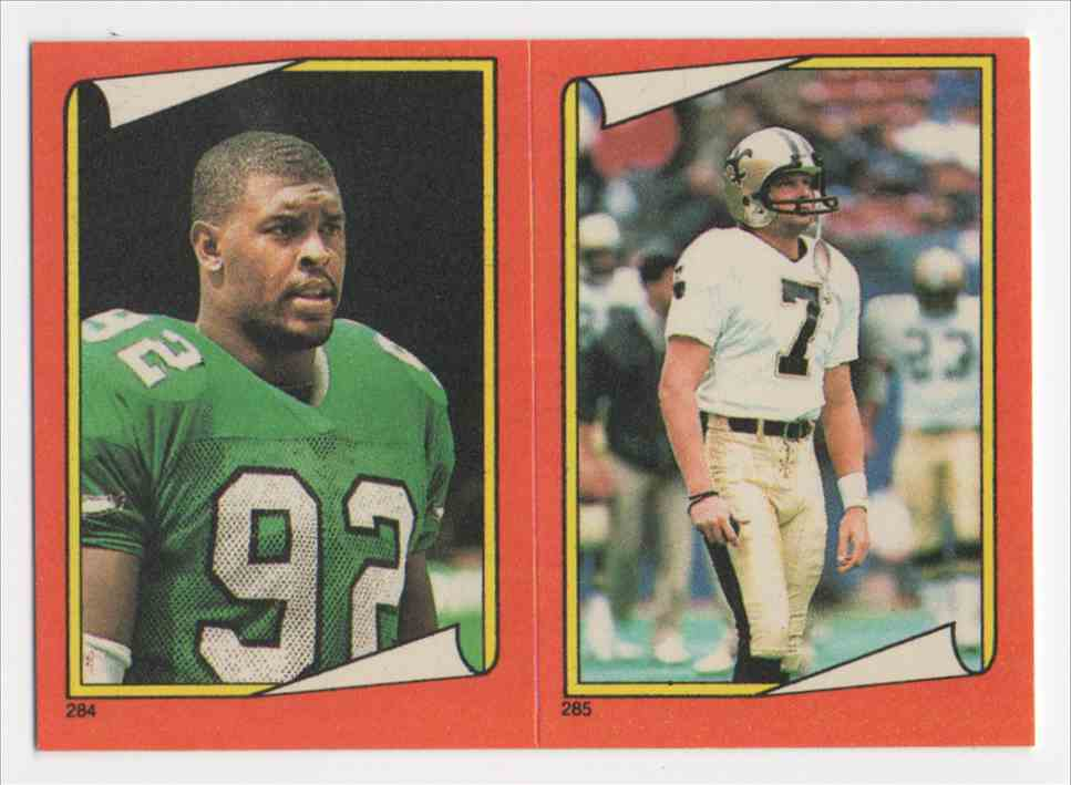 1988 Topps Stickers Reggie White & Morten Andersen #284 card front image