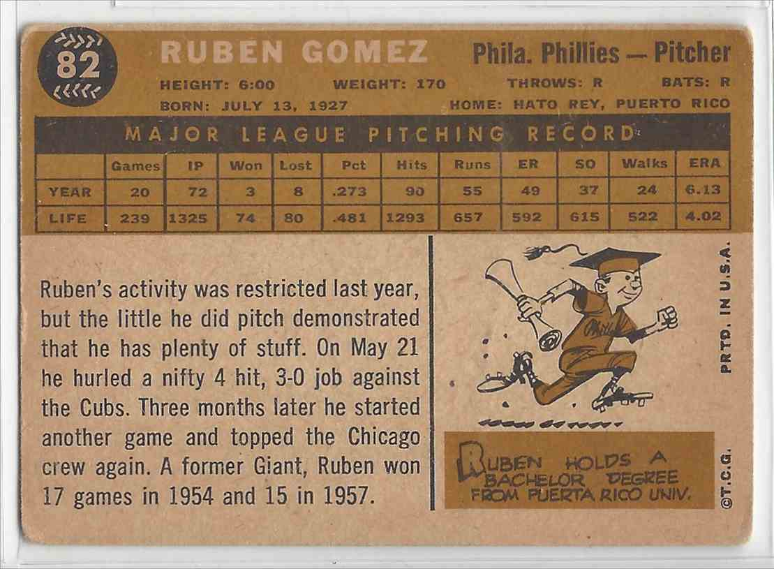 1960 Topps #82 Ruben Gomez Philadelphia Phillies Baseball Card