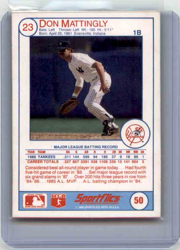 1989 Sportflics Don Mattingly #50 card back image