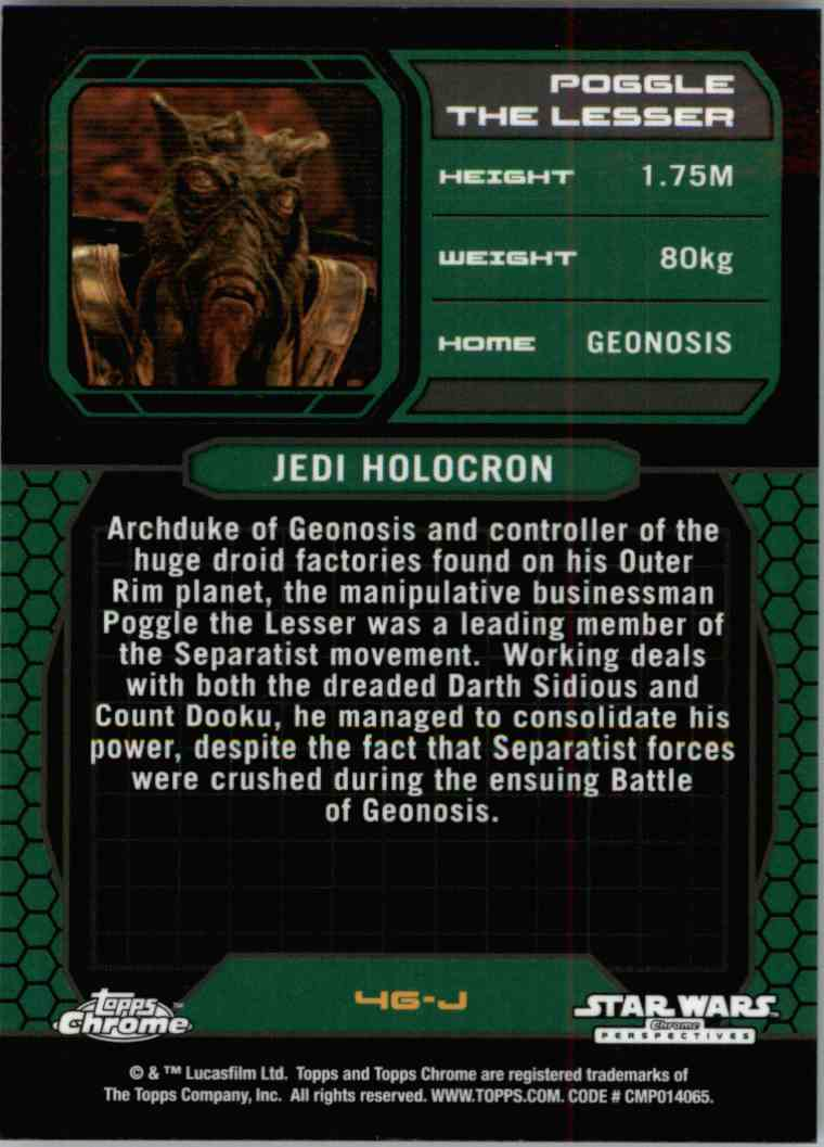 2015 Topps Chrome Star Wars Jedi Temple Archives Poggle The Lesser #46-J card back image