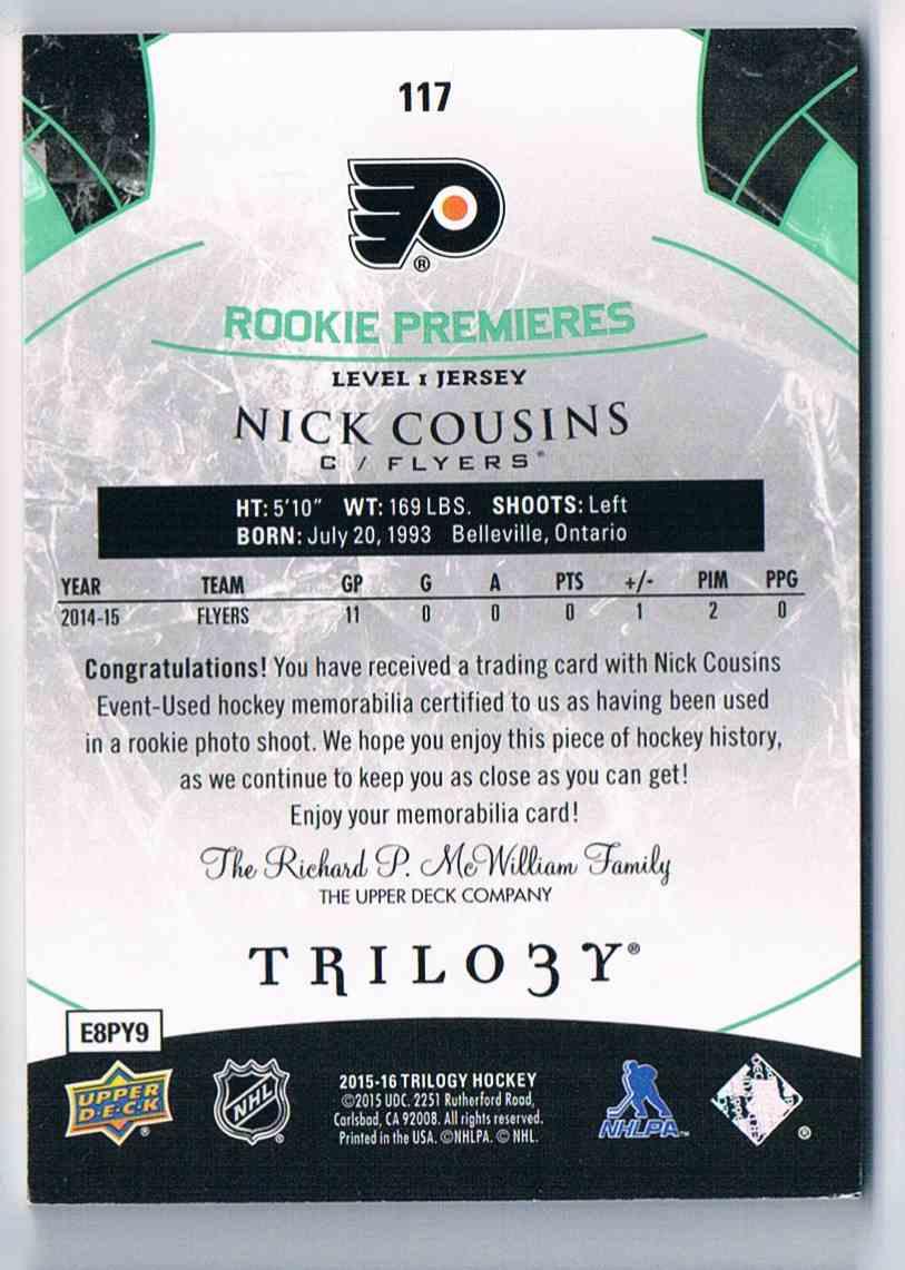 2015-16 Upper Deck Trilogy Nick Cousins #117 card back image