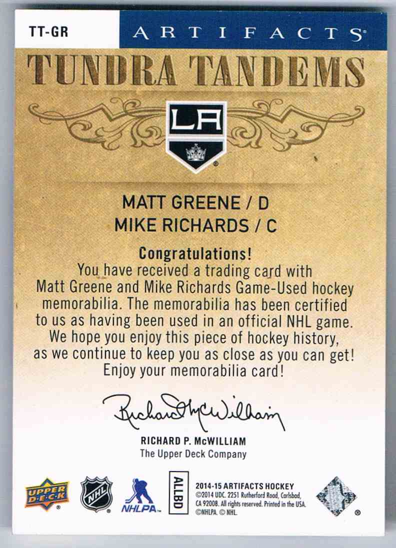 2014-15 Artifacts Tundra Tandems Matt Greene Mike Richards #TT-GR card back image