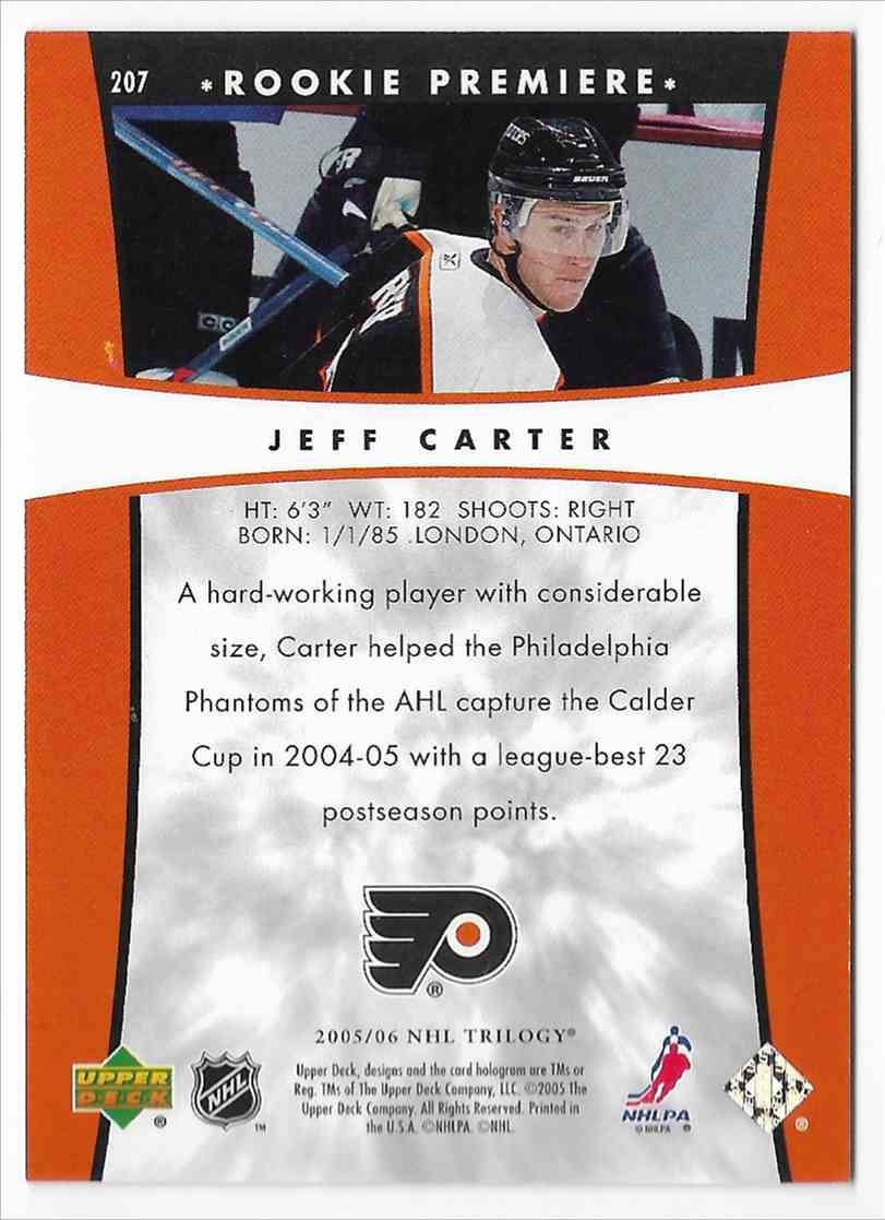 2005-06 Upper Deck Trilogy Jeff Carter #207 card back image