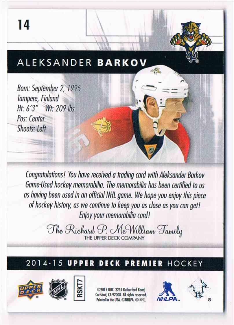 2014-15 Premier Spectrum Aleksander Barkov #14 card back image