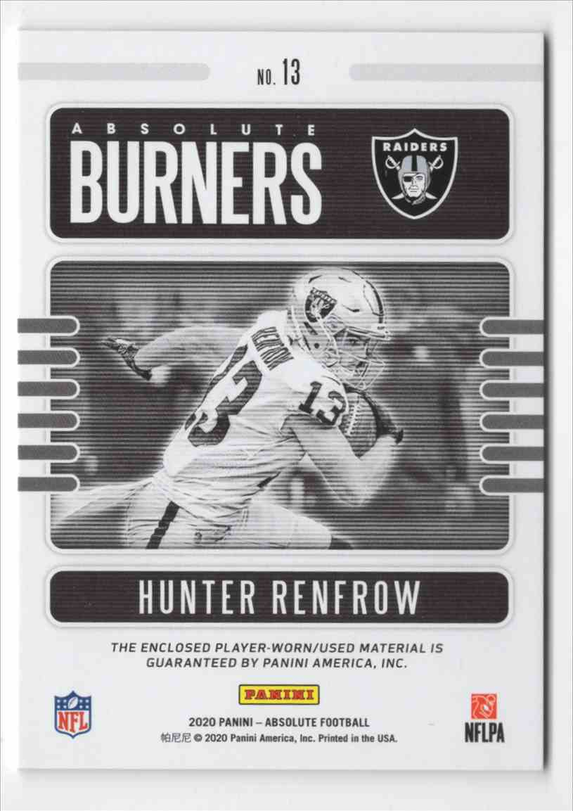 2020 Absolute Absolute Burners Jerseys Hunter Renfrow #13 card back image
