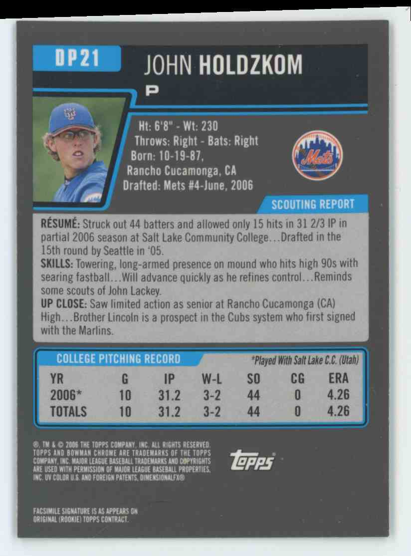 2007 Bowman Chrome Draft Prospects John Holdzkom #DP21 card back image