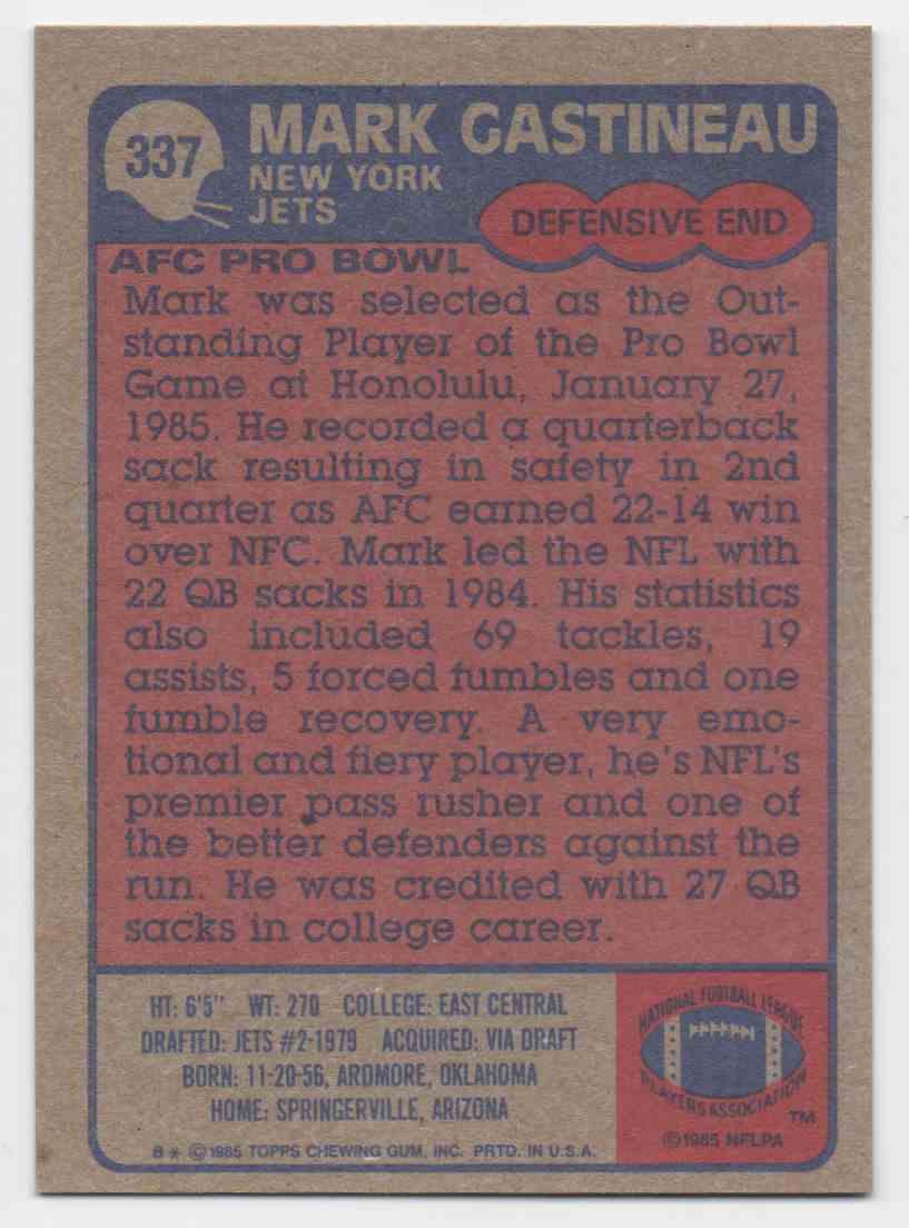1985 Topps Mark Gastineau #337 card back image