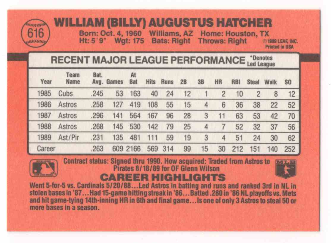 1990 Donruss Billy Hatcher Dp #616 card back image