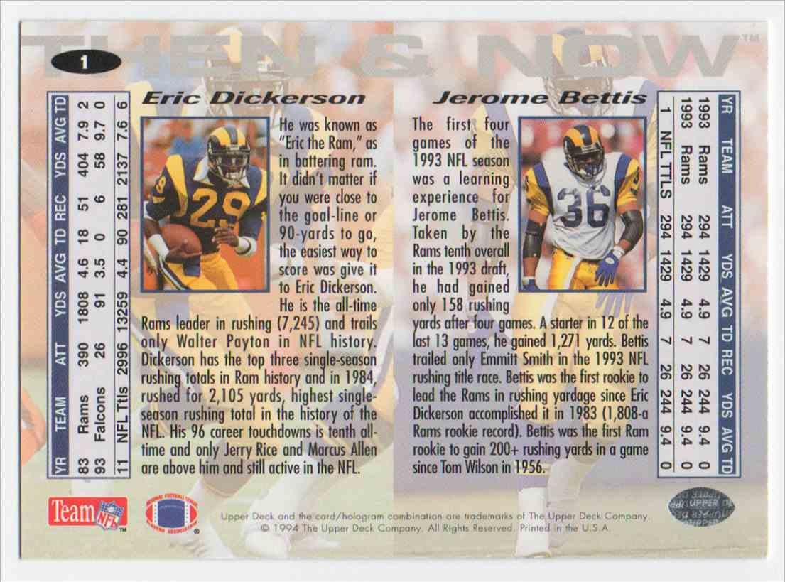 1994 Collectors Choice Then & Now Jerome Bettis #1 card back image