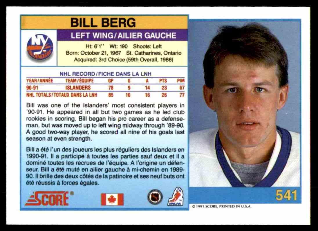 1991-92 Score Canadian Bilingual Bill Berg #541 card back image