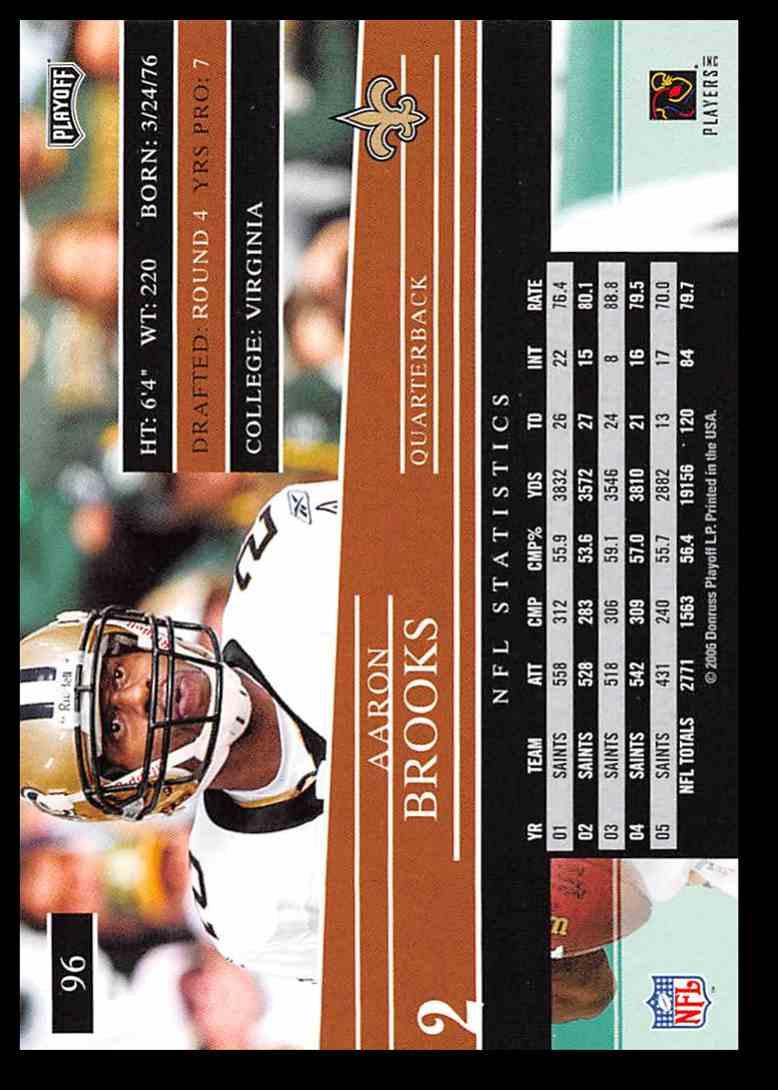2006 Playoff Prestige Aaron Brooks Football Card #96 on Kronozio