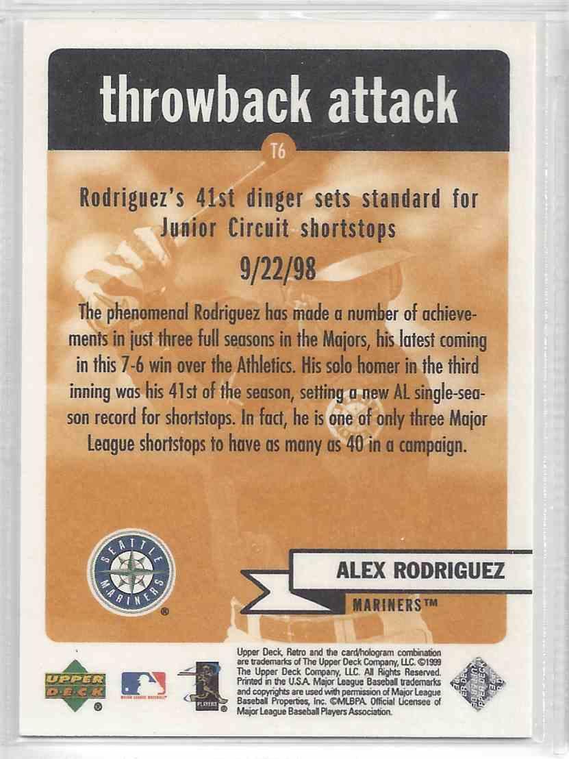 1999 Upper Deck Retro Alex Rodriguez #16 card back image