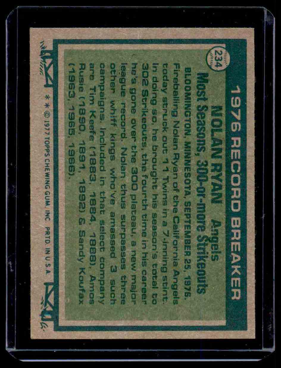 1977 Topps Nolan Ryan Exmt+ #234 card back image