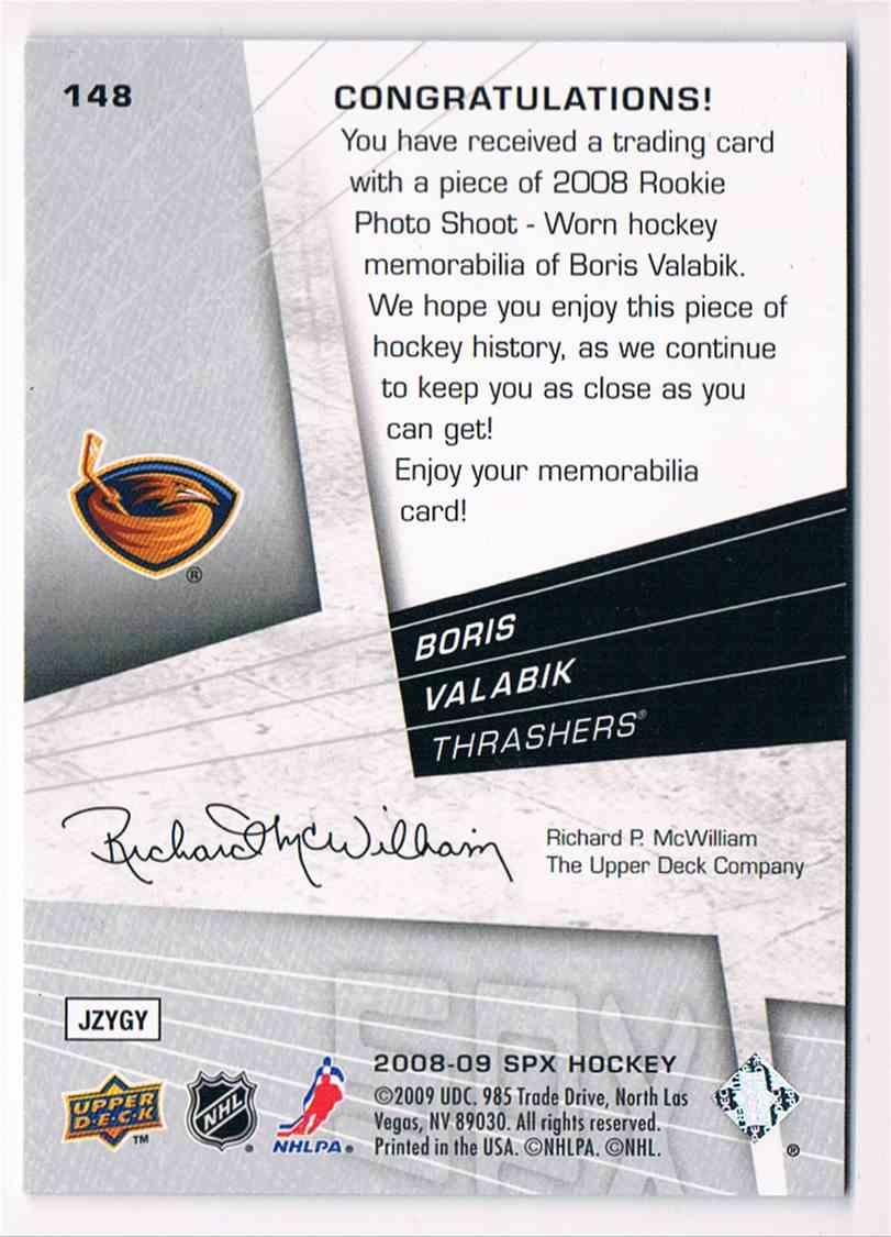 2008-09 Spx Boris Valabik #148 card back image