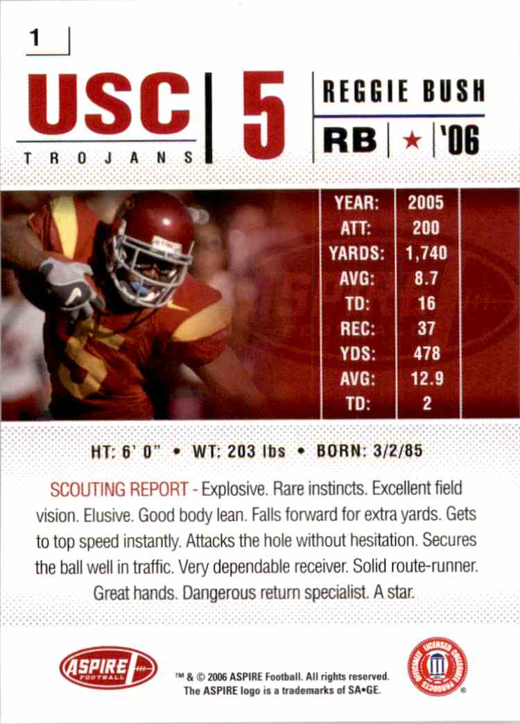 2006 Aspire Reggie Bush #1 card back image
