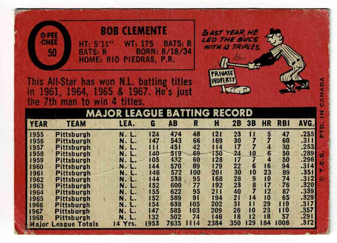 1969 Topps Roberto Clemente #50 card back image