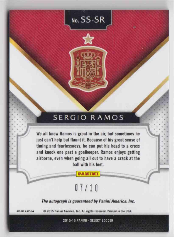 2015 Panini Select Signatures Prizm Blue Sergio Ramos #SS-SR card back image