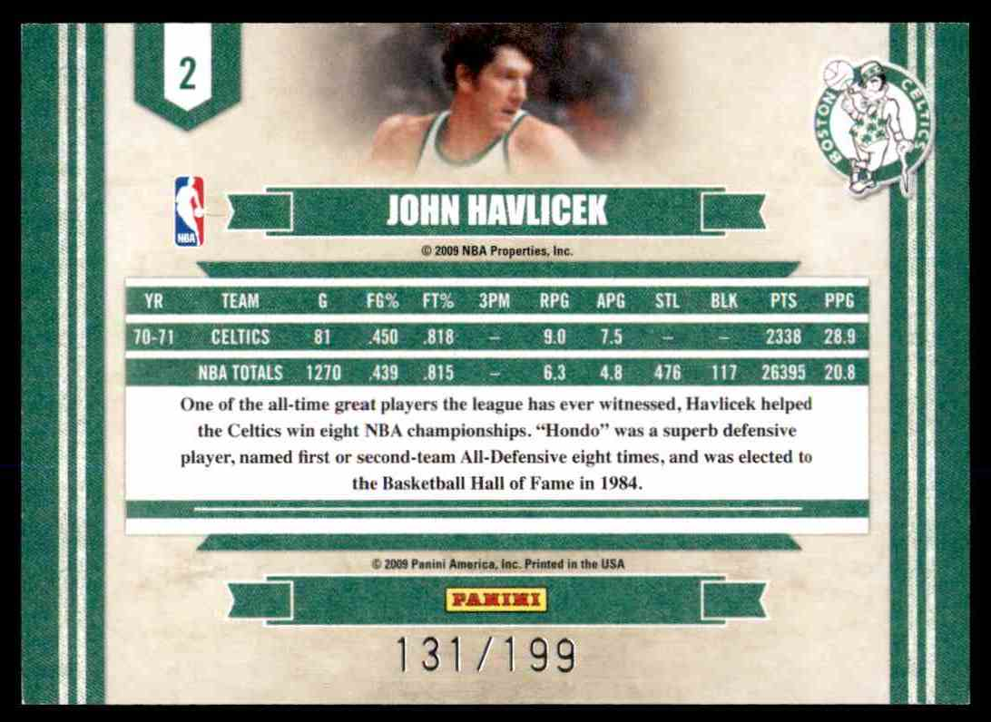 2009-10 Panini Legends Of The Game Artists Proof John Havlicek #2 card back image