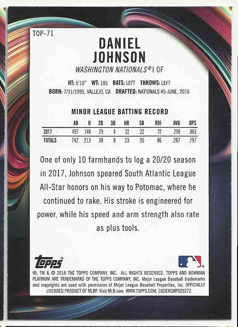 2018 Bowman Platinum Top Prospects Daniel Johnson #TOP-71 card back image
