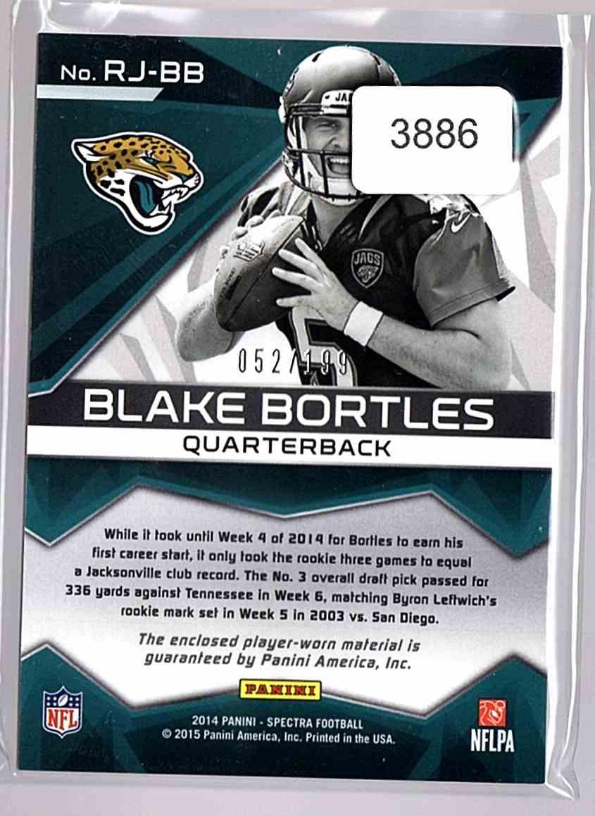 2014 Panini Spectra Rookie Jerseys Blake Bortles #RJBB card back image
