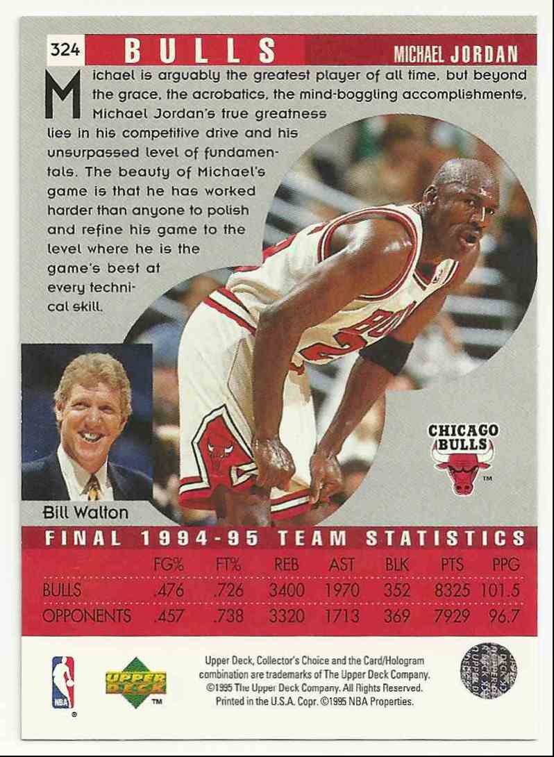 1995-96 Collector's Choice Michael Jordan #324 card back image