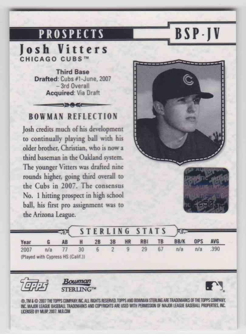 2007 Bowman Sterling Autographs Josh Vitters #BSP-JV card back image