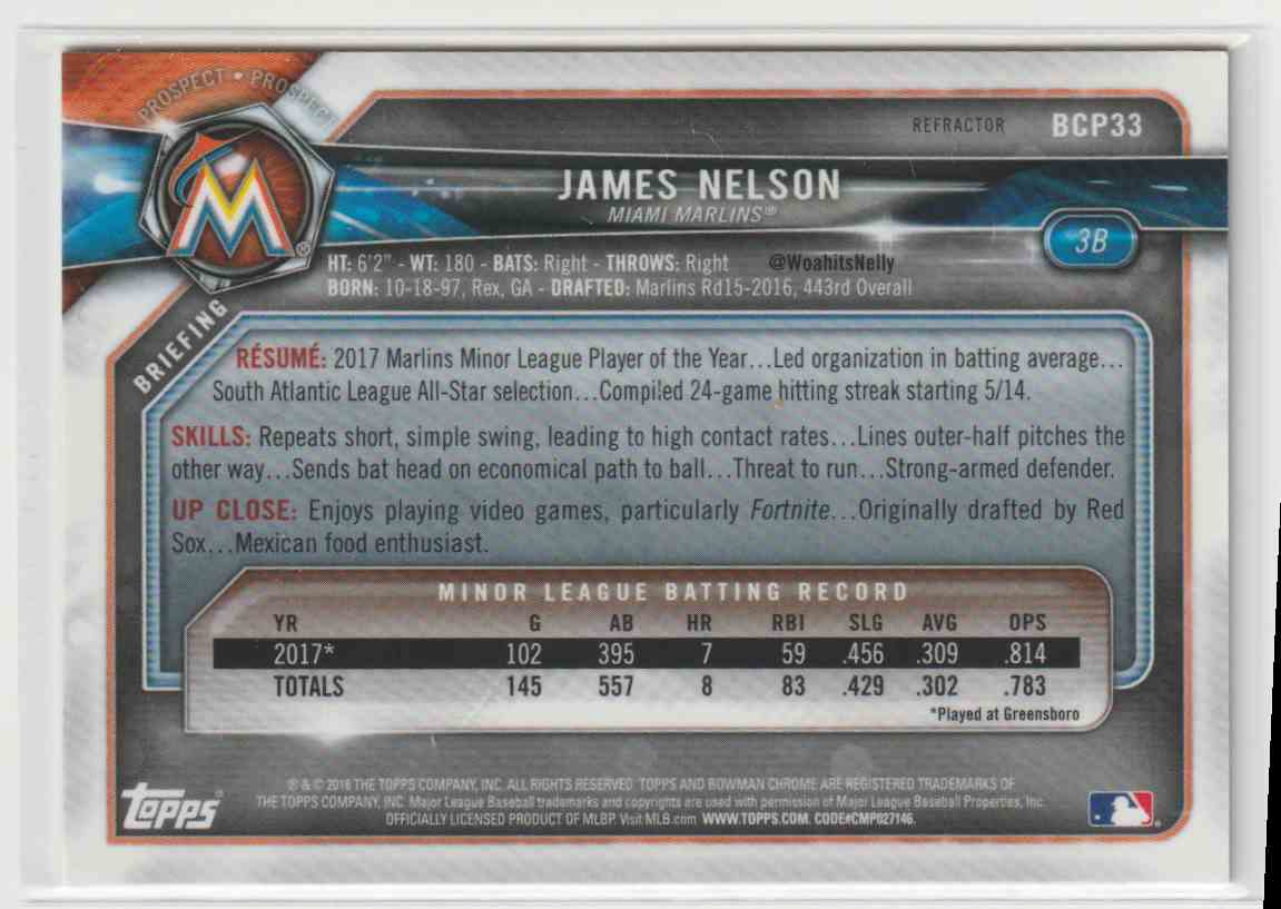 2018 Topps Bowman James Nelson #BCP33 card back image