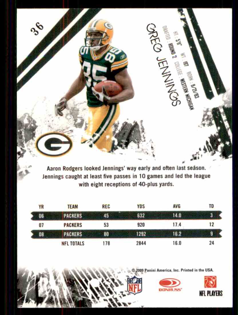 2009 Rookies & Stars Greg Jennings #36 card back image