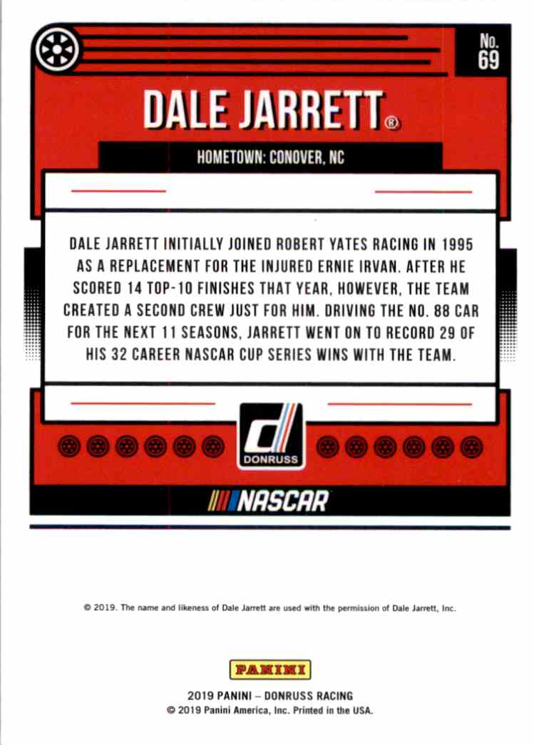 2019 Donruss Black Dale Jarrett #C69 card back image