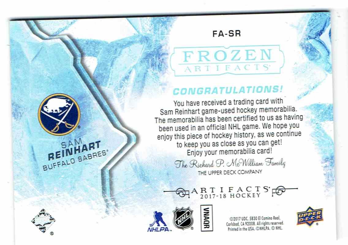 2017-18 Upper Deck Artifacts Frozen Sam Reinhart #FA-SR card back image