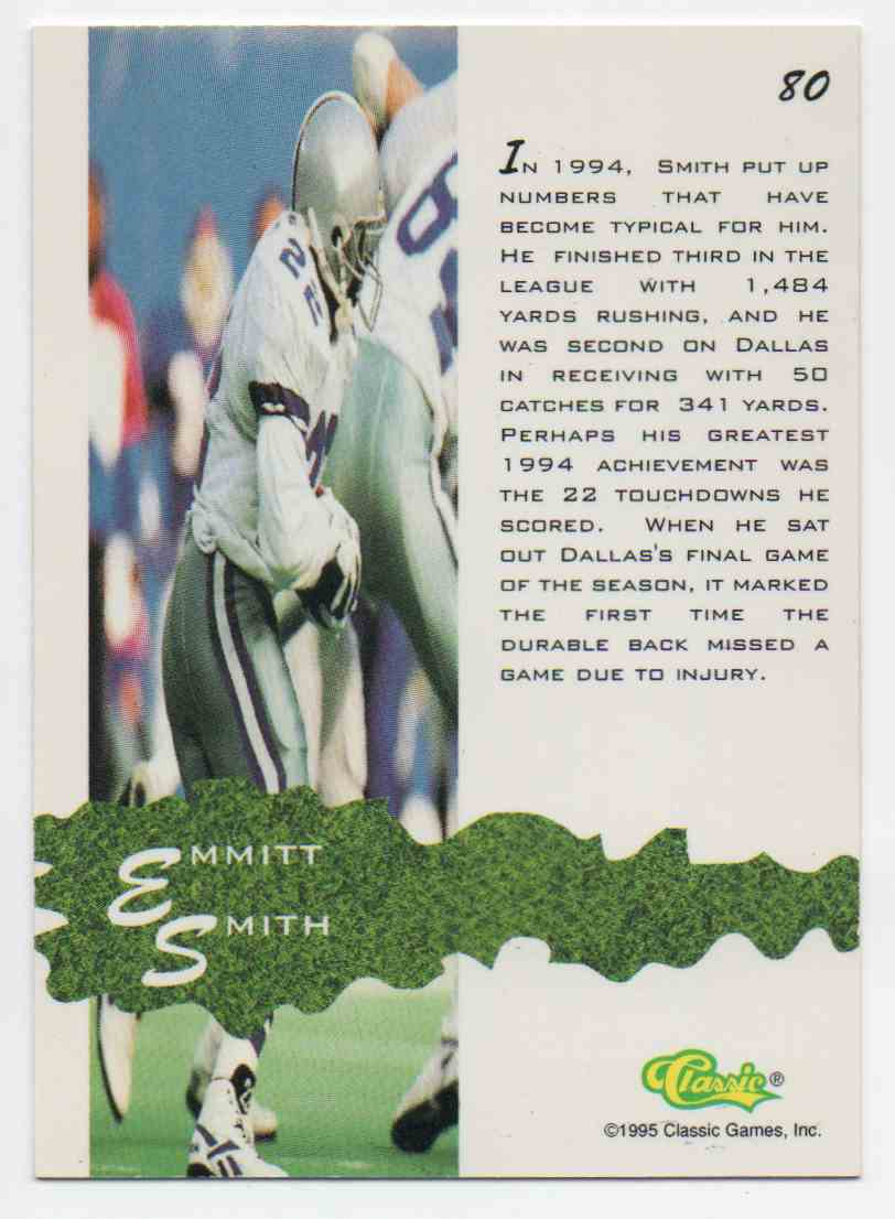 1995 Classic Assets Emmitt Smith #80 card back image