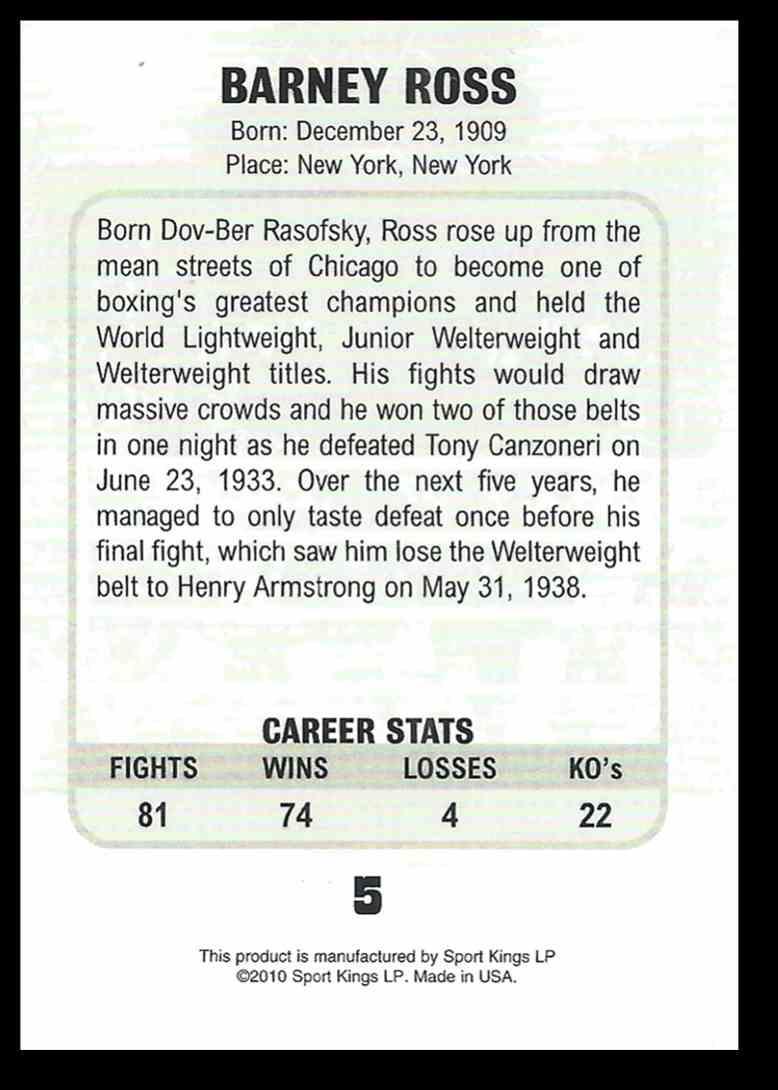 2010 Sport Kings Ringside Boxing Barney Ross #5 card back image