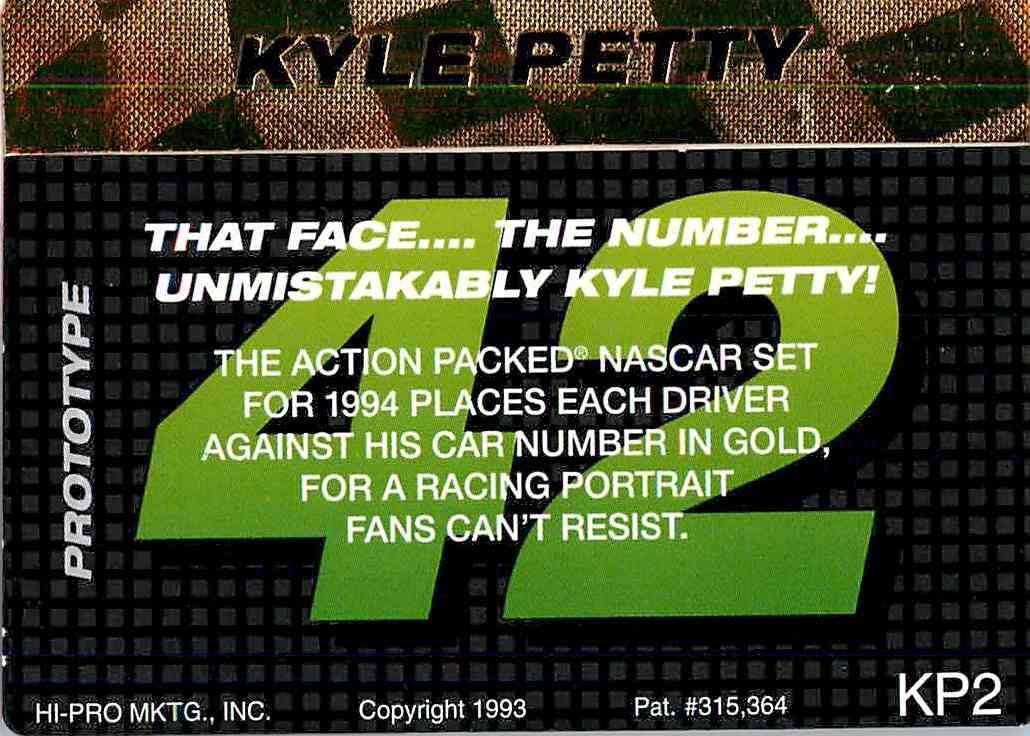 1993 Action Packed Kyle Petty #KP2 card back image