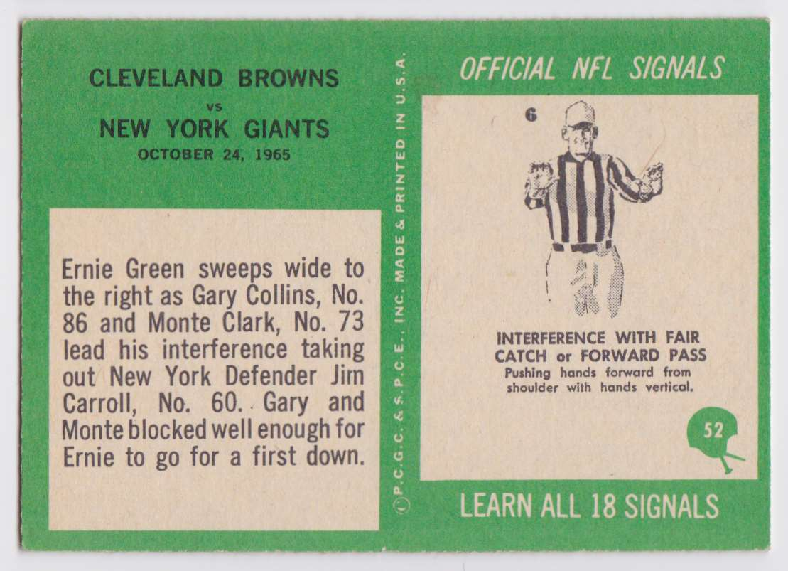 1966 Pcgc Browns Vs Giants 1965 #52 card back image