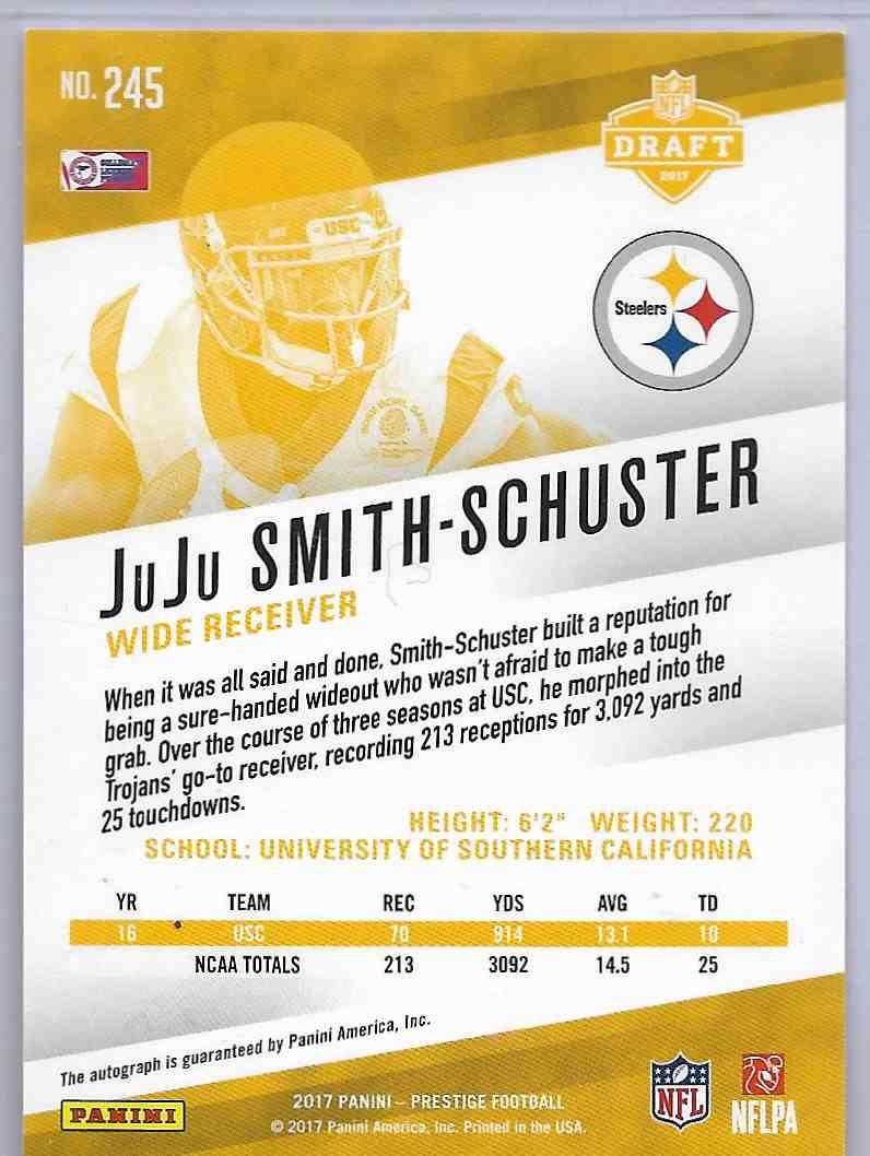 2017 Panini Prestige Juju Smith-Schuster #245 card back image