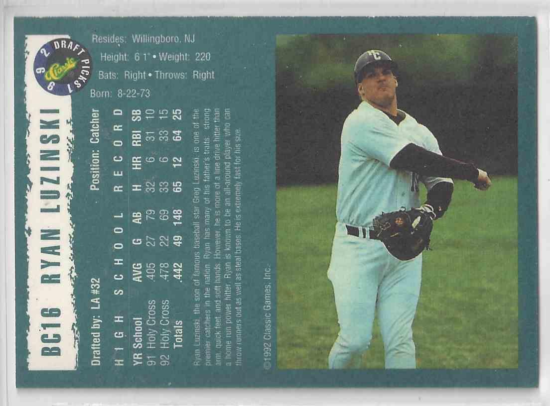 1992 Classic Draft Picks Silver Foil Ryan Luzinski #BC16 card back image
