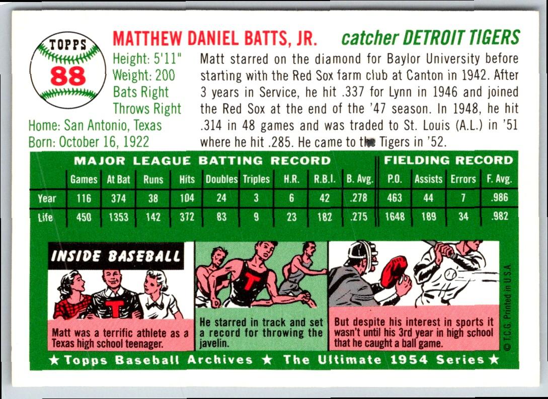 1954 Topps Archive Matt Batts #88 card back image