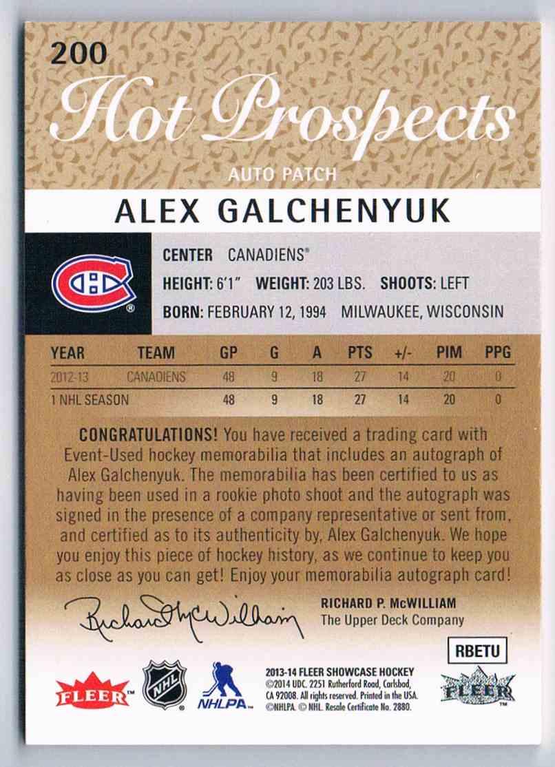 2013-14 Upper Deck Fleer Showcase Hot Prospects Alex Galchenyuk #200 card back image