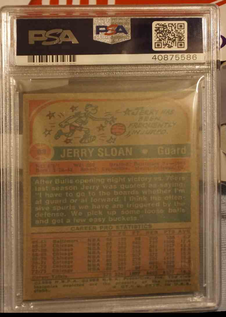 1973-74 Topps PSA DNA Jerry Sloan card back image