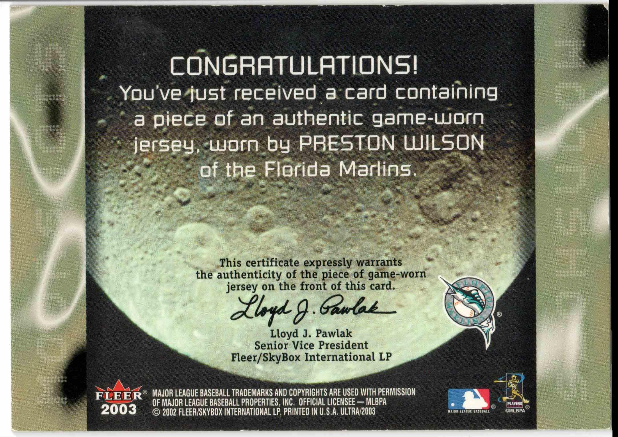 2003 Fleer Ultra Preston Wilson card back image