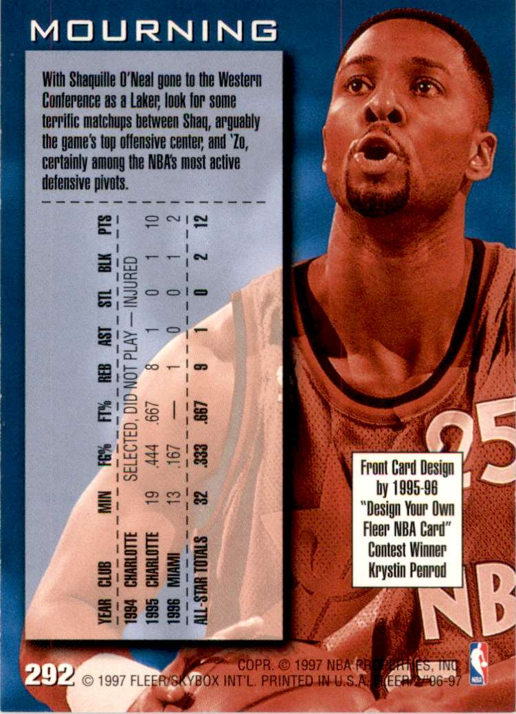 1996-97 Fleer Alonzo Mourning As #292 card back image