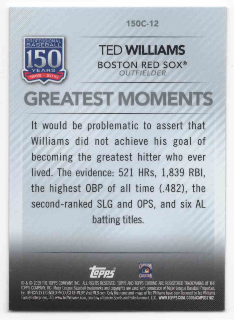 2019 Topps Chrome Update 150 Years Of Professional Baseball Ted Williams #150C12 card back image