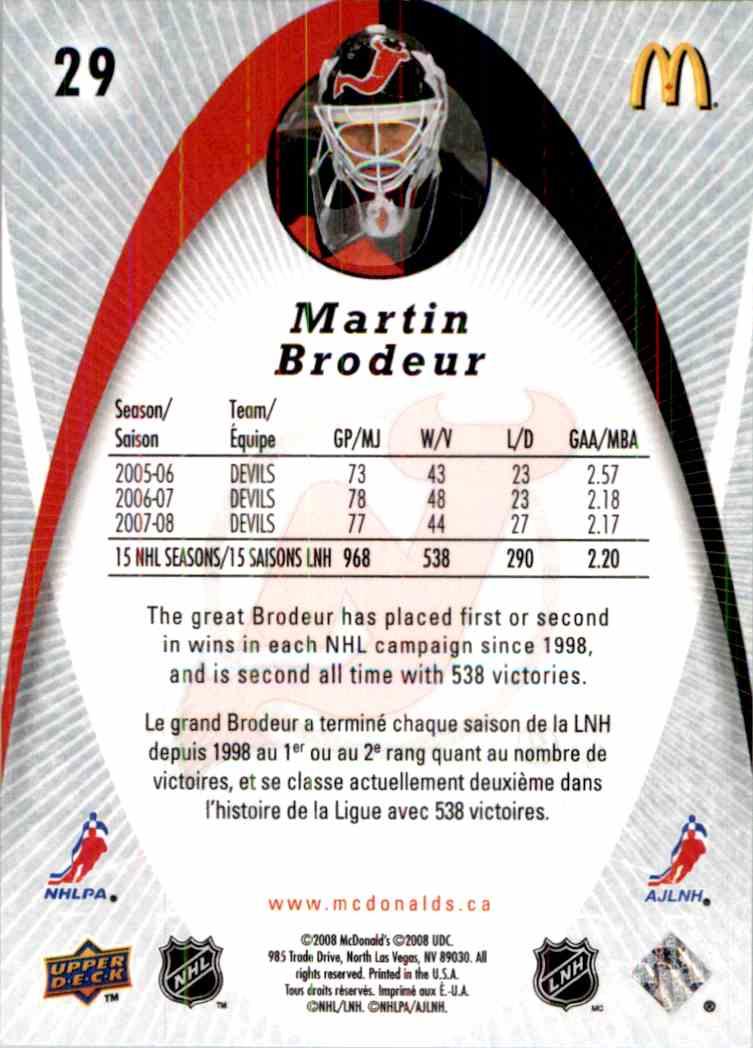 2008 09 Upper Deck Mcdonald 39 S Martin Brodeur 29 On Kronozio