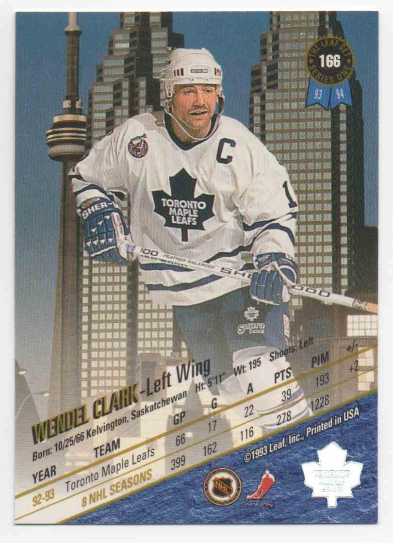 1993-94 Leaf Wendel Clark #166 card back image