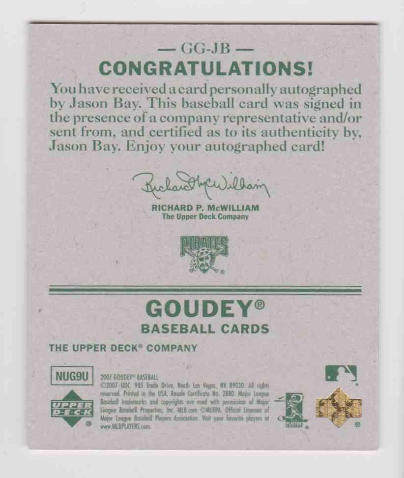 2007 Upper Deck Goudey Graphs Jason Bay #GG-JB card back image