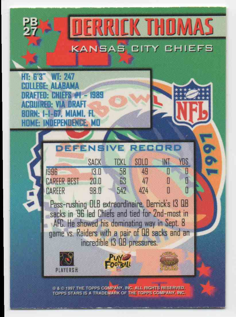 1997 Topps Stars Pro Bowl Derrick Thomas #27 card back image