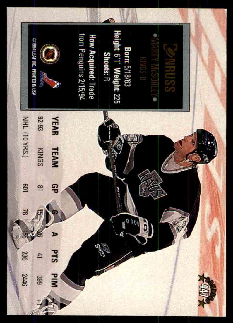 1993-94 Donruss Marty McSorley #447 card back image