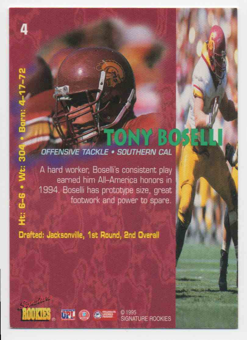 1995 Signature Rookies Tony Boselli #4 card back image